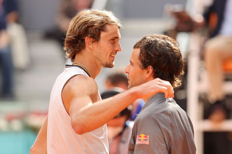 Alexander Zverev and Dominic Thiem embrace after their semifinal match in Madrid
