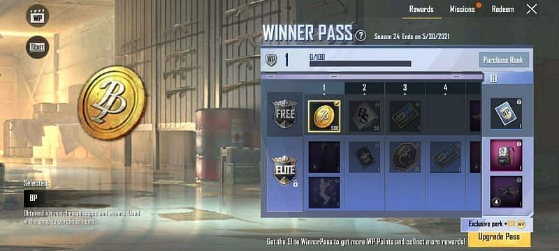 500 BP for Rank 1 in the FREE section of the Season 24 Winner Pass