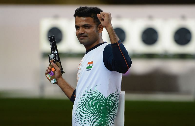 Vijay Kumar after winning the silver medal in the men