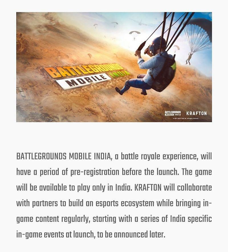 The announcement about an esports ecosystem (Image via battlegroundsmobileindia.com)