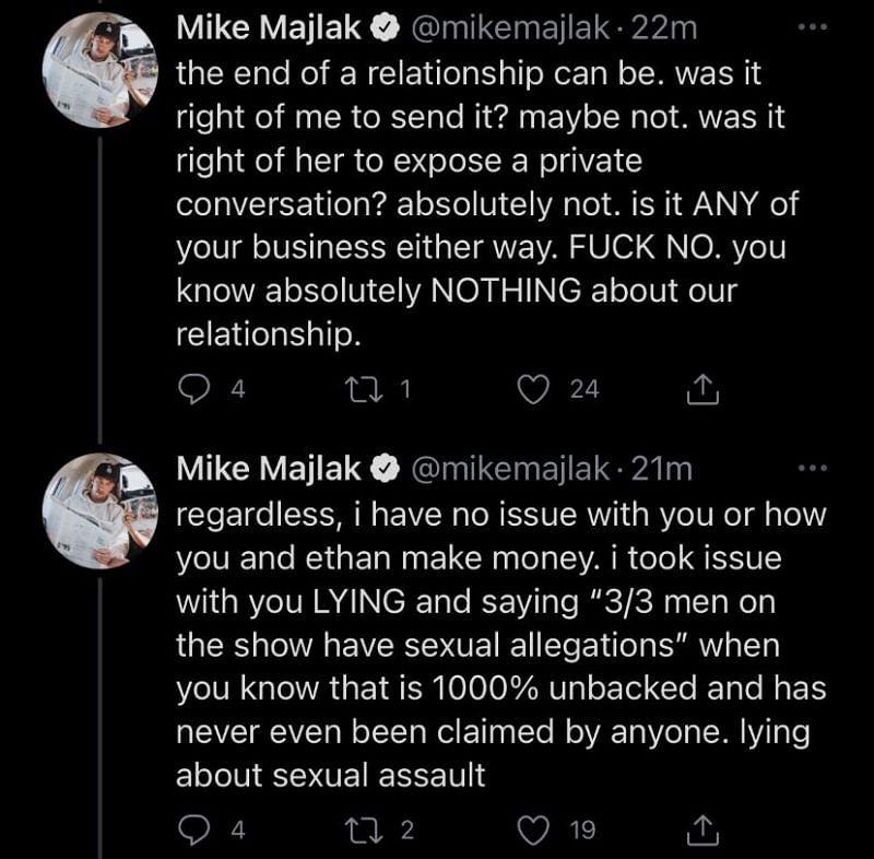 Mike Majlak's response to Trisha Paytas 2/2 (Image via Twitter)