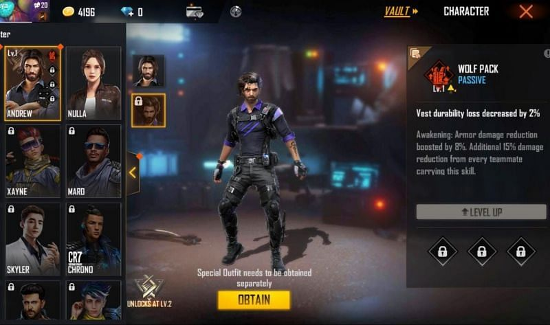 """Elite Andrew or Andrew """"the Fierce"""" is the upgraded/awakened version of Andrew in Free Fire"""
