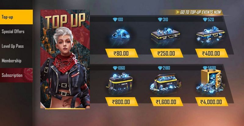 Top up options would appear on the screens