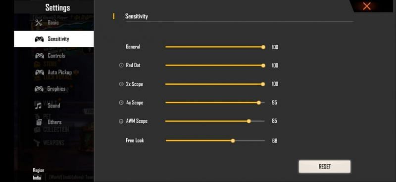 Best sensitivity settings for faster movements and accurate aiming in Free Fire
