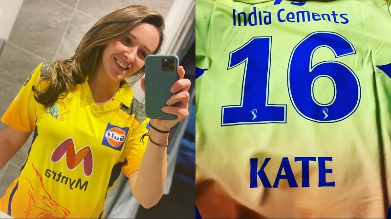 Kate Cross and her new Chennai Super Kings jersey
