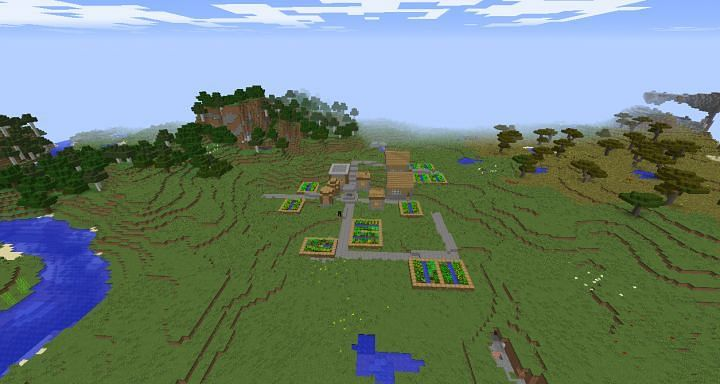 Players will find a swamp biome nearby (Image via Minecraftvillageseeds)