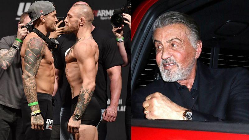 Hollywood star Sylvester Stallone (right) reveals his winner pick for Dustin Poirier vs. Conor McGregor 3