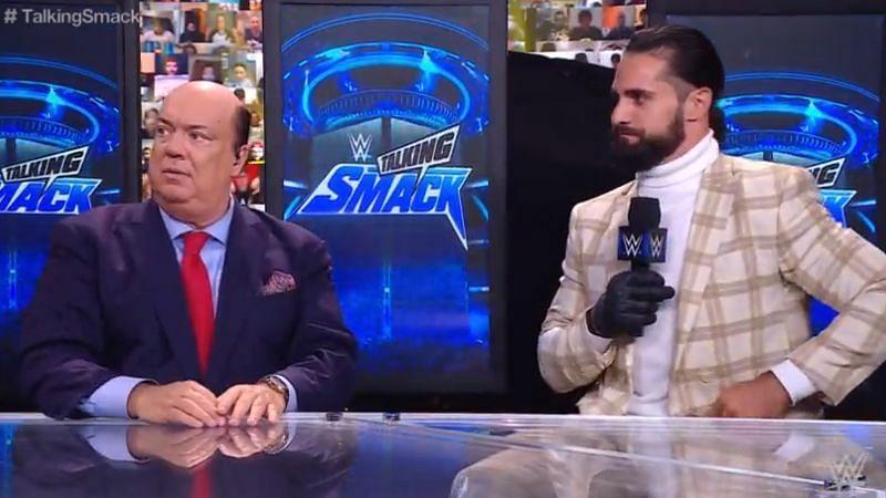 Seth Rollins appeared alongside host Paul Heyman on Talking Smack