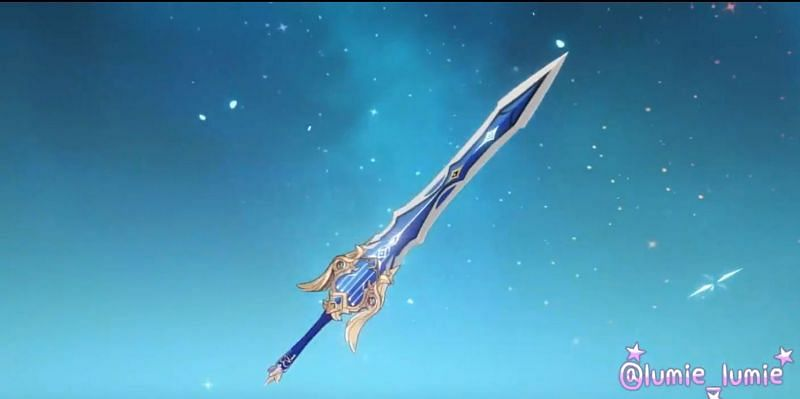 Render of the upcoming claymore in Genshin Impact, Song of Broken Pines (image via lumie_lumie)