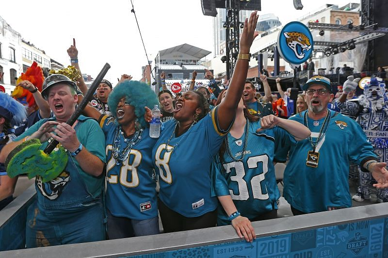 Fans of the Jacksonville Jaguars attend Day 1 of the 2019 NFL Draft.