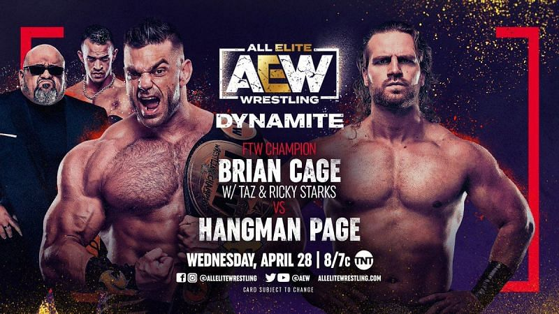 Hangman Adam Page faced Brian Cage in the opening match of AEW Dynamite this past week (Credit: AEW)
