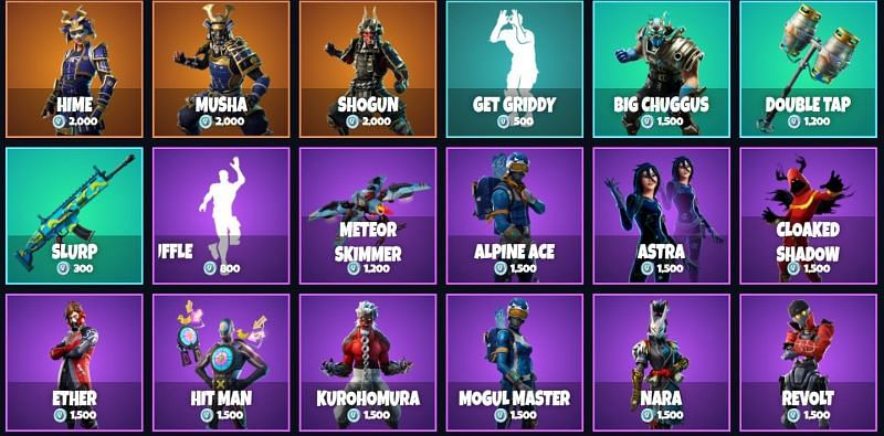 The Fortnite item shop features a lot of interesting cosmetics on a regular basis. Image via fnbr.co