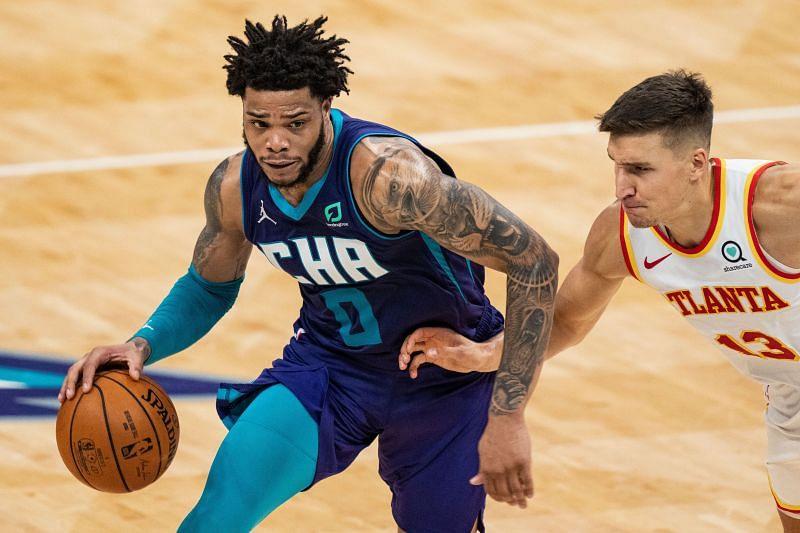 Miles Bridges in NBA 2020/21 action against the Atlanta Hawks