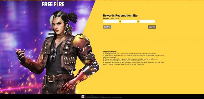 Enter or paste code one by one in the text field (Image via Free Fire)