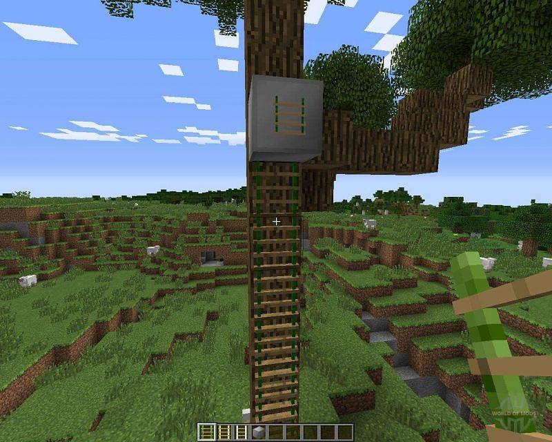A ladder on a tree mod (Image via worldofmods)