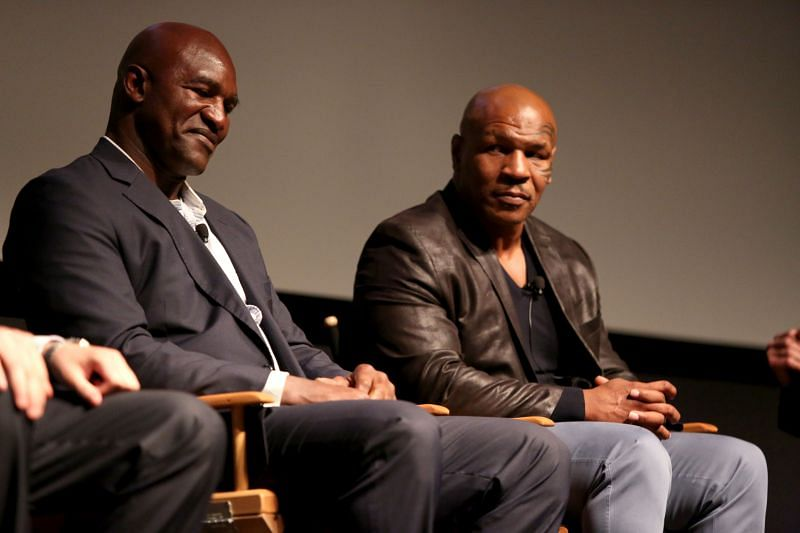 Evander Holyfield (left) and Mike Tyson (right)