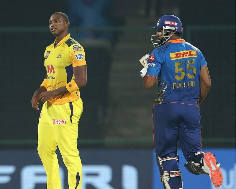 Lungi Ngidi and Kieron Pollard during the last over on Sunday. (PC: IPL)