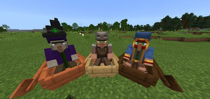 Witch and wandering trader in a boat (Image via mcbedrock)