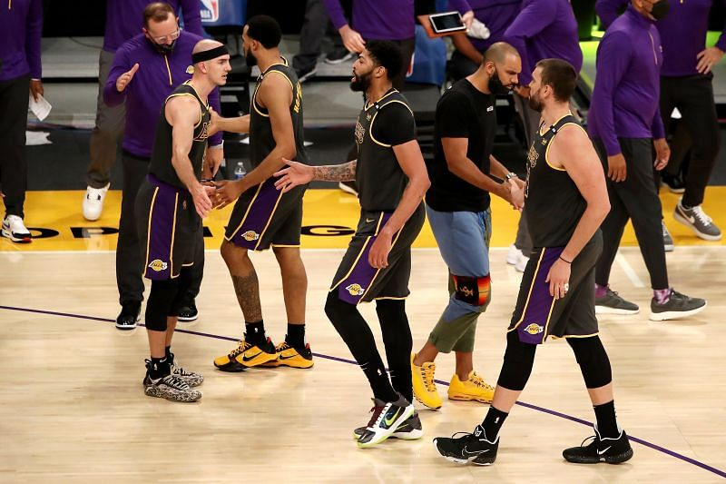 LA Lakers teammates in win against Denver
