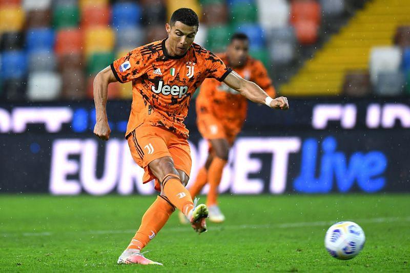 Cristiano Ronaldo takes a penalty for Juventus
