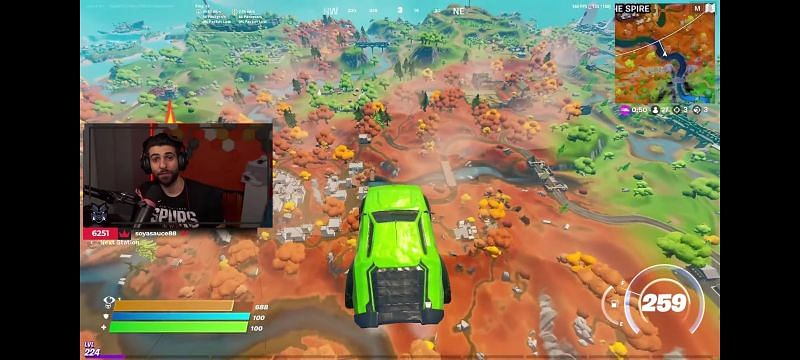 Flying car glitch in Fortnite Season 6 (Image via SypherPK, YouTube)