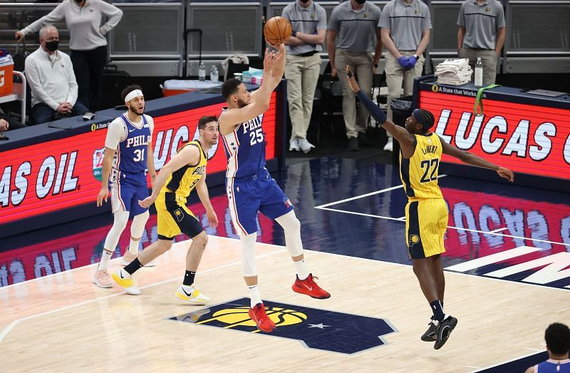Ben Simmons #25 shoots the ball against the Indiana Pacers.