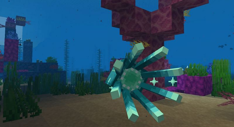 A beautiful shot of a Glow Squid in a Coral Reef (Image via Minecraft)
