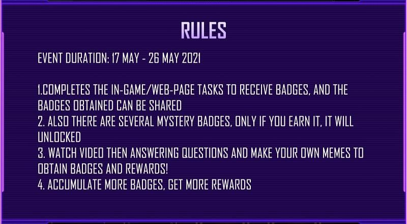 Rules for the event