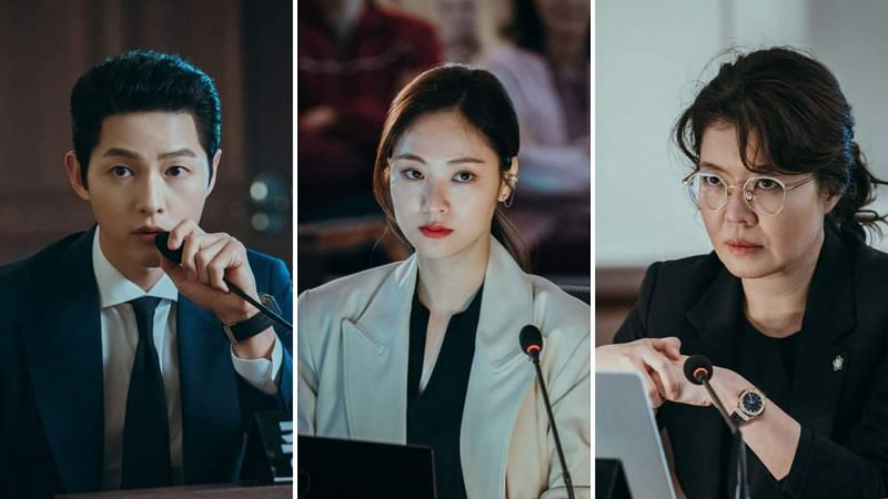 """Song Joong Ki, Jeon Yeo Bin, and Kim Yeo Jin in Episode 19 of """"Vincenzo"""" (Image via tvN/Netflix)"""