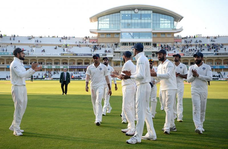 Jasprit Bumrah leading the Indian team to the dressing room at Trent Bridge