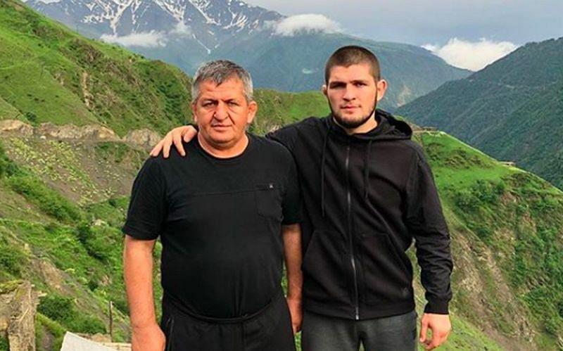 Abdulmanap Nurmagomedov (left); Khabib Nurmagomedov (right)