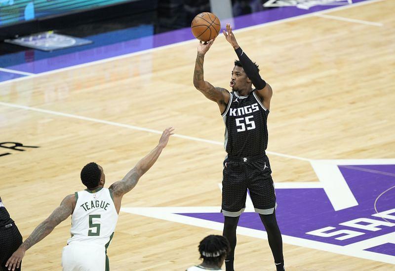 Delon Wright #55 of the Sacramento Kings in action