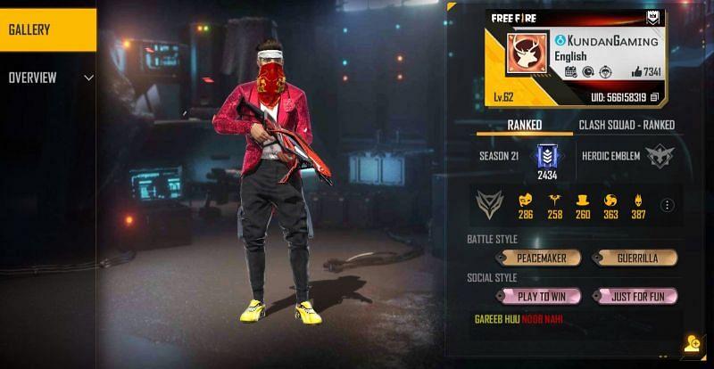 Kundan Gaming's Free Fire details