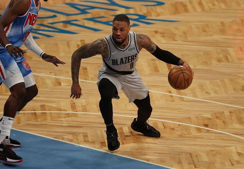 Damian Lillard of Portland Trail Blazers in action vs Brooklyn Nets