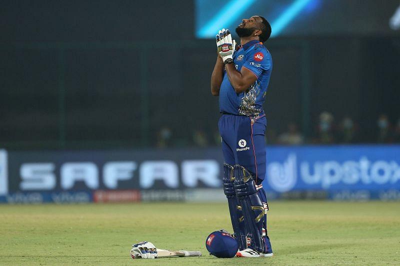 Kieron Pollard celebrating his match-winning knock. (PC: IPL)