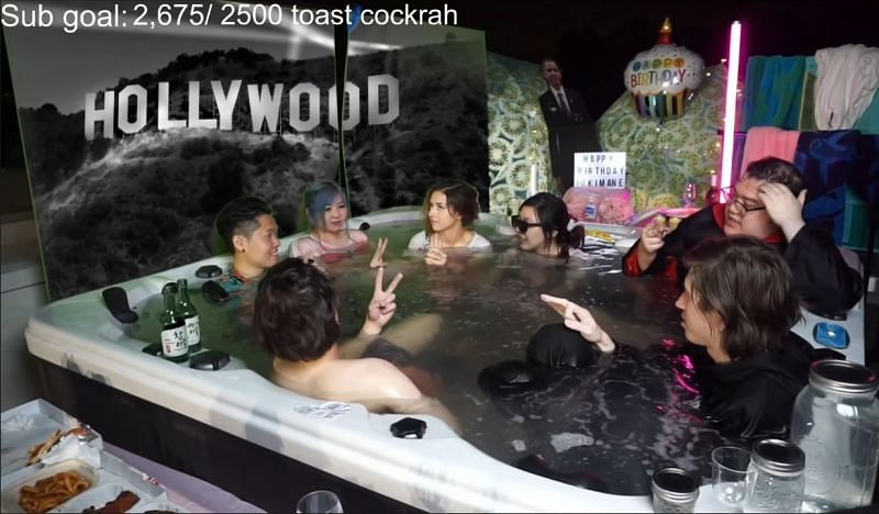 The OfflineTV crew assembled for a hot tub stream recently that was a huge success (image via Pokimane, Twitch)