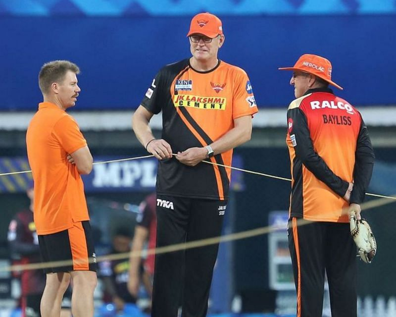 David Warner, Tom Moody and Trevor Bayliss (from left to right) (PC: IPL)