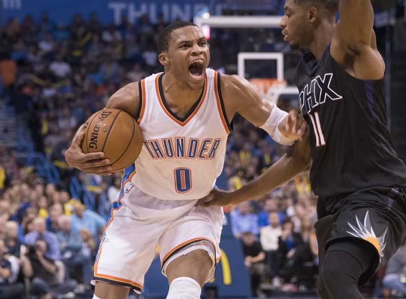 Russell Westbrook with the OKC Thunder against the Phoenix Suns