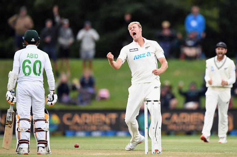 Kyle Jamieson celebrates a wicket against Pakistan.