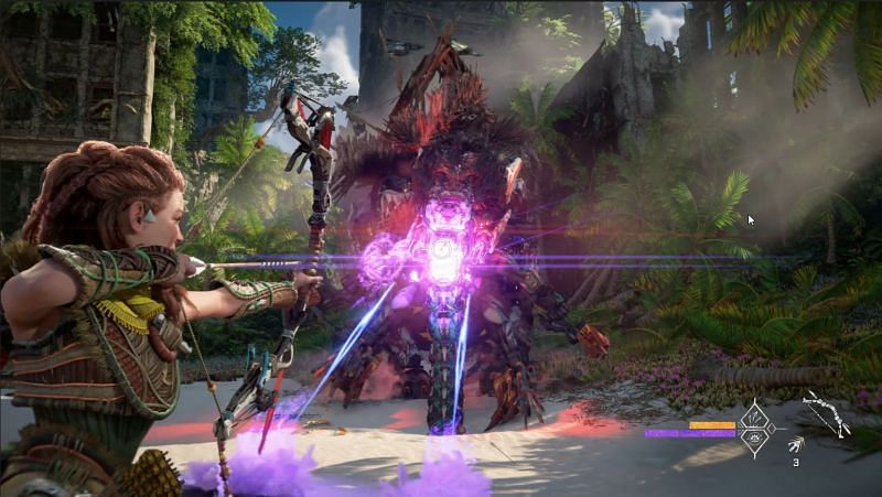 Aloy fighting humans mounted on a Termortusk in Horizon Forbidden West (Image via Playstation)