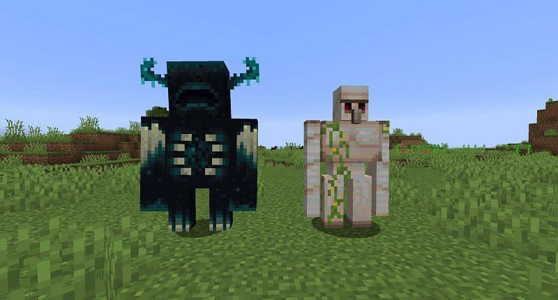 An image of the Warden besides an Iron Golem (via Minecraft Wiki)