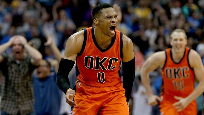 Russell Westbrook with the OKC Thunder against the Orlando Magic