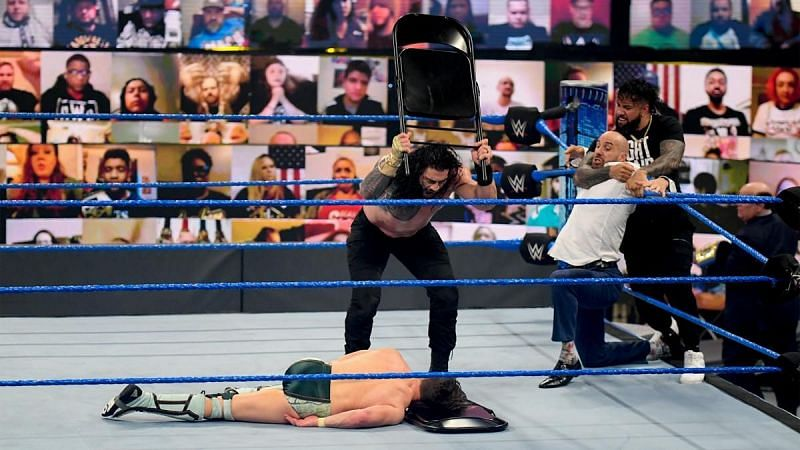 Jey Uso held Cesaro back as Roman Reigns attacked Daniel Bryan