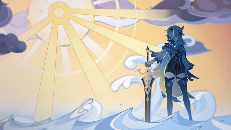 Official artwork for Eula (image via Genshin Impact Youtube)