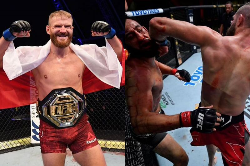 Jan Blachowicz (left) has reacted to Jiri Prochazka