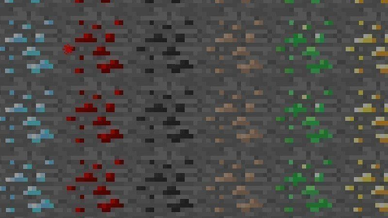Different ores in Minecraft (Image via change)