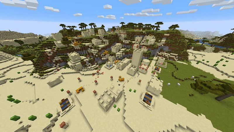 A desert village near savanna (Image via u/VeiledSyzygy)