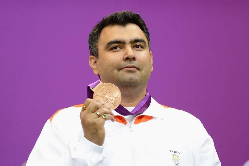 Gagan Narang with his bronze medal at the 2012 London Olympics