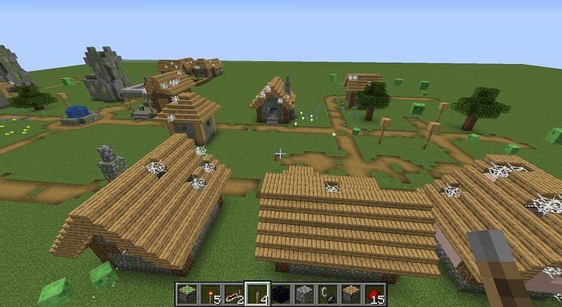 Abandoned village in super flat world (Image via Reddit)