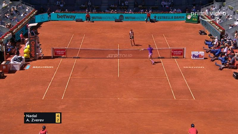 Rafael Nadal committed a wild error from an easy position while he was serving at 4-2